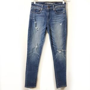 American Eagle Super Skinny Distressed Jeans sz 4